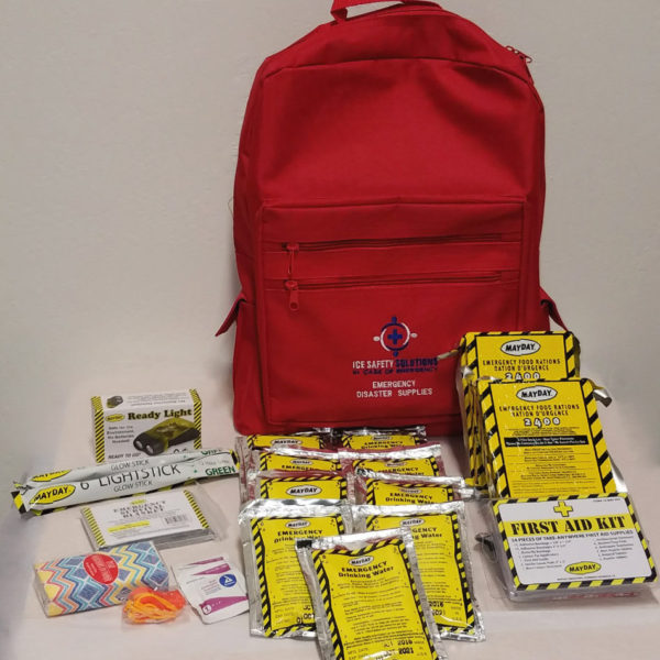 Red ICE Backpack with supplies