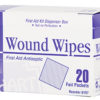 WOUND WIPES, antibacterial cleansing wipes, 20 per box